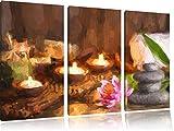 beruhigende Kerzen3-Teiler Leinwandbild 120x80 Bild auf Leinwand, XXL riesige Bilder fertig gerahmt mit Keilrahmen, Kunstdruck auf Wandbild mit Rahmen, gänstiger als Gemälde oder Ölbild, kein Poster oder Plakat
