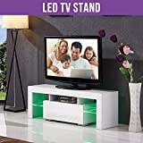 UEnjoy White TV Unit 130CM TV Cabinet High Gloss TV Stand 2 Shelves FREE LED RGB Lights