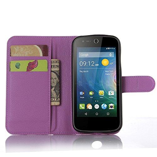 Tasche für Acer Liquid Z330 Hülle, Ycloud PU Ledertasche Flip Cover Wallet Case Handyhülle mit Stand Function Credit Card Slots Bookstyle Purse Design lila
