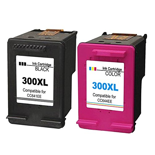 Kyansin Remanufacturado HP 300 300XL High Yield Ink Cartridges 300 XL (CC641EE and CC644EE) Compatible con HP DeskJet D1660 / D2660 / D5560 / F2480 / F4280 (1 Negro, 1 Tricolor)