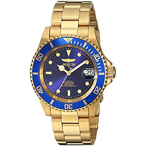 Invicta Pro Diver - 8930OB Orologio da Polso, Analogico, Uomo, Cinturino Acciaio Inossidabile, Oro - 18k Quadrante Blu