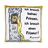 Die Geschenkewelt Sheepworld 42387 Plüsch-Kissen, Motiv Ich brauche keinen Prinzen …, kleines Zierkissen, 25 cm x 25 cm