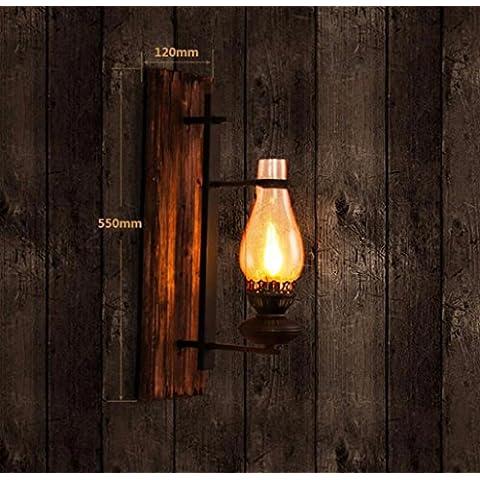 Retrò vento industriale parete di vetro Loft bar e ristorante in legno massiccio singola lampada da parete