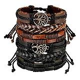 Aroncent 2PCS Unisex Armbänder Set Retro Baum des Lebens Stammes Tribal Geflochten Leder Armband Armreif Wickelarmband Einstellbar für Herren Damen, Schwarz Braun