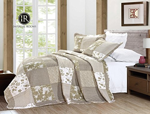 IMPERIAL ROOMS 3 piece Embroidered Patchwork Quilted Bedspread Beautiful Floral Luxury Bedding sets Throw sets Pillows Comforter Set ( King / Box ) Include 1 Bedspread & 2 Pillow shams