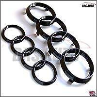 Das Automotive Ringe-Emblem für den Kühlergrill vorne und die Auto-Rückseite, schwarz glänzend