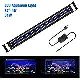 FTALGS Aquarium LED Aquarium Beleuchtung, Aquariumbeleuchtung Lampe Weiß Blau Licht mit Verstellbarer für Aquarium (100A=37