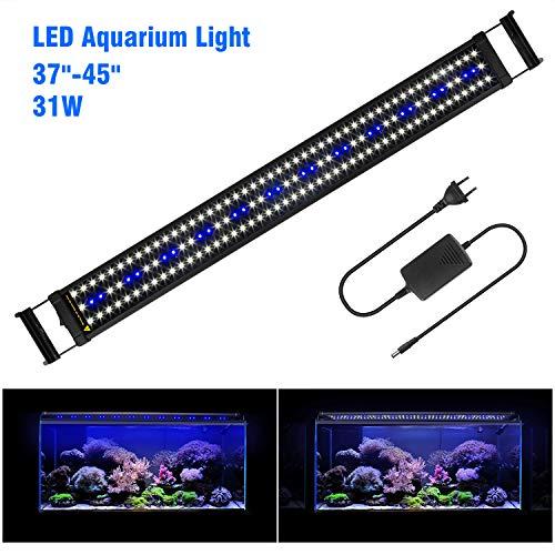 """FTALGS Aquarium LED Aquarium Beleuchtung, Aquariumbeleuchtung Lampe Weiß Blau Licht mit Verstellbarer für Aquarium (100A=37""""- 45""""(94CM))"""