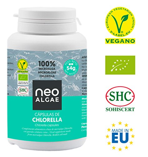 Chlorella en Cápsulas   100% Chlorella Orgánica   Pared Celular Rota: Mejor Asimilación y Mayor Poder Antioxidante   350 mg por Cápsula   120 Cápsulas por Envase   Neoalgae