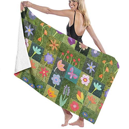 xcvgcxcvasda Serviette de bain, Color Flower Green Blocks Premium 100% Polyester Large Beach Towel, Suitable for Hotel, Swimming Pool, Gym, Beach, Natural, Soft, Quick Drying (Hotel Londres)