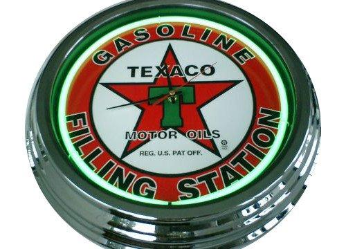 Neonuhr Texaco Wanduhr Deko-Uhr Leuchtuhr USA 50's Style Retro Uhr