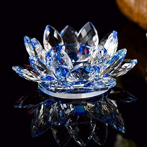 Porta candela, cristallo con fiore di loto, con scatola regalo, cristallo, blue