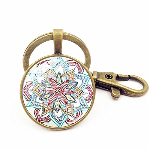 UmerBee Farbenfroher Schlüsselanhänger Blumen Mandala Schlüsselring Geschenk - Mailbox Die Besten Der