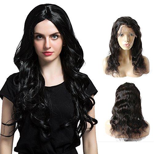 Mufly 100% Echthaar 360 Lace Frontal Closure Brasilianer natürlicher Hairline mit Baby Haar Body Wave 12'' 360 Lace Virgin Hair 100% Human Hair (Perücken Halo)