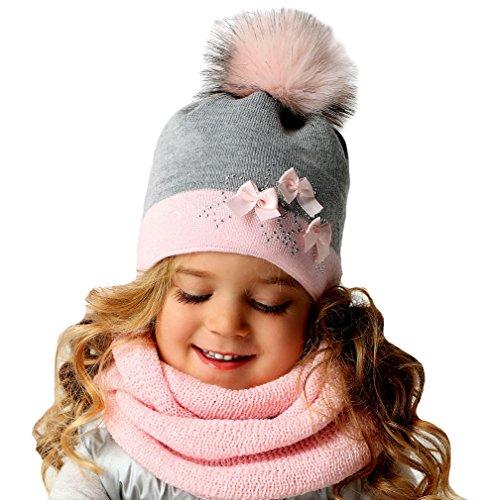 AJS Elegantes Mädchen Winter Set Wintermütze Strickmütze Bommel Schleifen Loopschal Farbe (Prinzessin Schleife Mit Handschuhe)