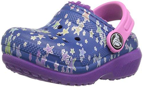 crocs Kinderschuhe Classic Lined Graphic Clog K 204817 Blue Jean/Amethyst 23-24 (Crocs Kinder 12 13)