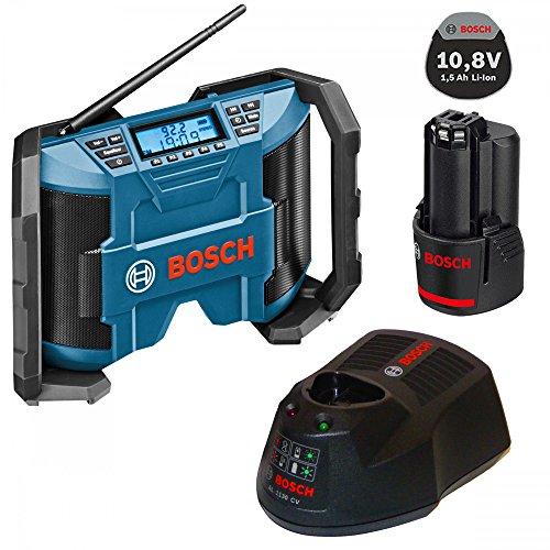 Bosch Soundset MAXI Akkuradio - Netzradio GML 10,8V-Li 2x5Watt Musikleistung mit AUX-In-Kabel + 1x Akku 10,8V 1,5AH + Ladegerät AL1130CV