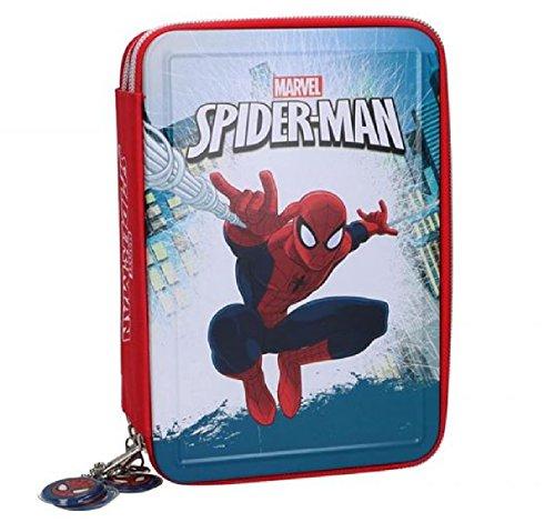 Astuccio scuola 3 zip spiderman in latta metallo con colori e matite giotto astuccio portapastelli tre scomparti cerniere elementare