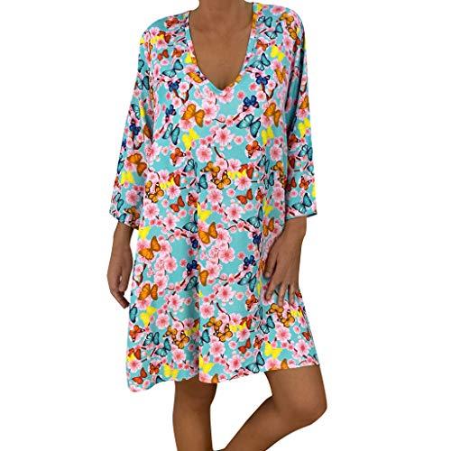 MCYs ❤ Damen Lose Print DREI Viertel Ärmel Minikleid Sommerkleid (Shirt-ärmel-strumpfband)