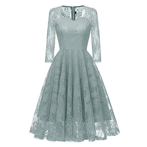 OdeJoy Frau Siebenviertel Ärmel Bestickt Sexy Spitze Kleid Jahrgang Prinzessin Rock Blumen Gedruckt...