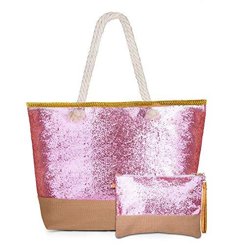 f43be6ed2b76f MOOKLIN Große Strandtasche mit Reißverschluss Sommer TascheVerschluss Damen Shopper  Tasche Schultertasche Schwimmbad Badetasche Umhängetasche Beach Bag (04)