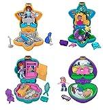TrendyMaker - Mattel Polly Pocket Tiny Places Spielset, Schatulle mit Mini-Püppchen 4-er Set (Aquarium, Schrank, Picknick und Konzert)