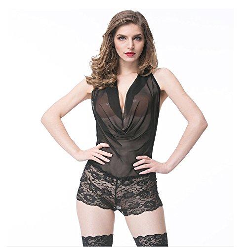 Liu Sensen Dessous Für Frauen Sexy Mode Tiefem V-Ausschnitt Korsett Maid Uniform Outfits Kostüme Unterwäsche Set Schwarzer Spitze Body Babydoll,L (Korsett Maid Kostüm)