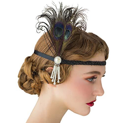 SWEETV 1920er Jahre Stirnband Flapper Headpiece der große Gatsby inspiriert Kostüm Party Accessoreis schwarz brüllen 20er Jahre Zubehör für Damen