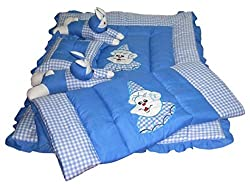 Bachha Rabbit Baby Bedding Set Cartoon Character Embroidery CLOTH - SWISS COTTON, FILLING - SOFT RECRON FIBRE, SKY BLUE