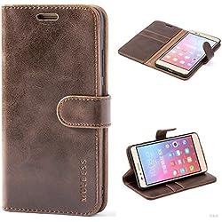 MULBESS Vintage Style Étui Housse en Cuir Premium Flip Case Portefeuille de Protection Etui Coque pour Huawei Honor 5X,Vintage Brun