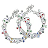 Memoir Silver plated Broad and colourful Anklet