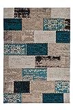 tapis en difficulté vintage tapis Patchwork Rose Bleu Gris Beige Rouge Bleu