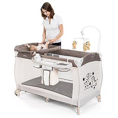 HAUCK-Cama de viaje para bebé Baby Center Zoo-Incluye recién nacidos de uso, cambiador, parte arco con parte Reloj, utensilios estante, ruedas, colchón, bolsa (Altura Regulable & plegable)