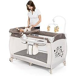 Lit parapluie bébé avec table à langer - Hauck Babycenter Zoo | Hauteur réglable pour nouveau-né, plan à langer, mobile musical, porte-accessoires, roulettes, matelas, sac de transport