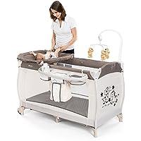 HAUCK – Cuna de viaje para bebé BabyCenter Zoo – Incluye elevador para recién nacidos, cambiador, movil musical, cesta portapañales, ruedas, colchón, bolsa de transporte