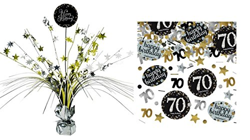 Feste Feiern Tischdekoration 70. Geburtstag I 2 Teile Tischaufsatz Tischaufsteller Kaskade Konfetti Gold Schwarz Silber metallic Party Deko Set Happy Birthday 70 (Tischdekoration Geburtstag 70.)