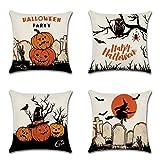 Artscope Lot de 4 Halloween Housse De Coussin, Coton et Lin Happy Halloween Décoratif Taie d'oreiller Canapé Voiture Maison Décor, 45 x 45 cm (Set L)