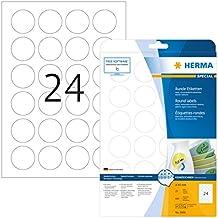 Herma 5066 Universal Etiketten rund, ablösbar, wieder haftend (ؘ 40 mm auf DIN A4 Papier matt, weiß) 600 St. auf 25 Blatt, Movables, bedruckbar