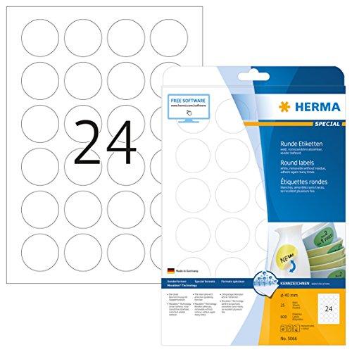 Herma 5066 Universal Etiketten rund, ablösbar (ؘ 40 mm) weiß, 600 Klebeetiketten, 25 Blatt DIN A4 Papier matt, bedruckbar, selbstklebend, Movables (Laser-inkjet-papier)