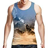 Idgreatim Men Printed Wolf T Shirt Cool Graphic Tank Top