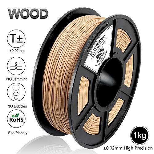 Filamento de impresión 3D de madera, precisión dimensional +/- 0.02 mm, 1 kg/carrete, 1.75 mm, madera, filamento ecológico adecuado para impresora 3D / pin de impresión 3D (madera)