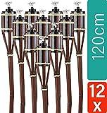 STAR - LINE 12 Gartenfackeln Bambus mit Docht 120cm BRAUN - Lange Brenndauer - Fackeln für draußen