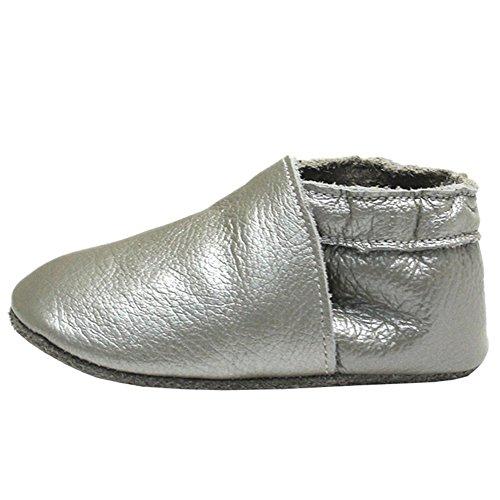 mejale schlüpfen Chaussons en cuir doux chaussures bébé Mokassin Argent - Argent