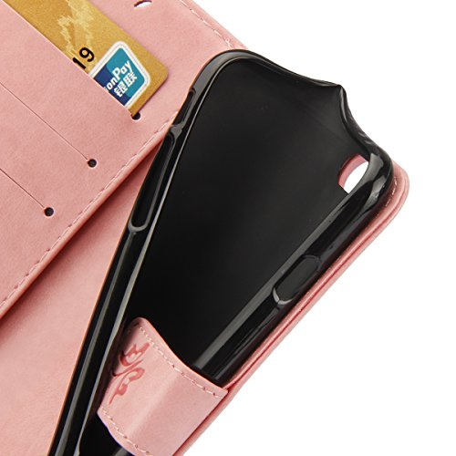 Etsue Cuir Coque Pour iPhone 7 Plus,Cuir Housse Portefeuille Coque Avec Cordon pour iPhone 7 Plus,Fashion Mode Conception Coque Étui Support Protecteur Case Magnétique Pochette pour iPhone 7 Plus,Colo Papillon Rose
