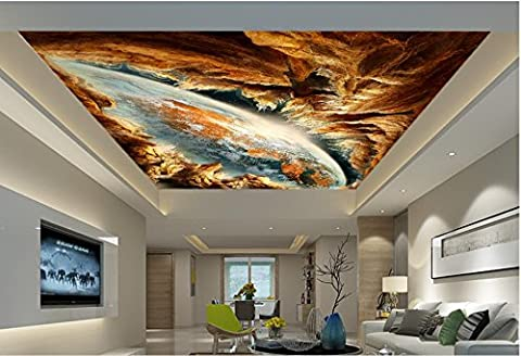 Lqwx Custom 3D-Decke Fantasy Earth 3D Stereoskopische Deckenmalereien Wallpaper 3D Moderne Decke Fototapete Himmel Decke 120 Cmx 100 Cm
