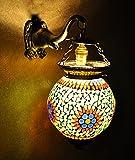 Vintage Handmade Mosaic Glass Christmas Wall Lamp & Light 13 X 9 Inches