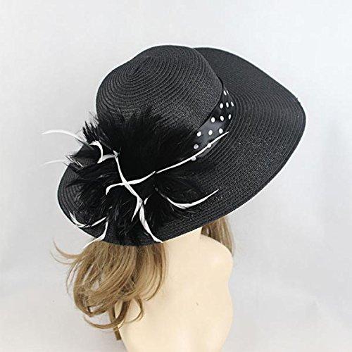 Les Femmes D'été élégant Chapeau De Soleil Noir Paille Plume Large Plage De Bord Bohême Cap Noir et blanc