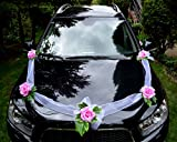 Autoschmuck Autodeko Hochzeit 5 Rosen Dekor Verschieden Farben Komplett (rosa, Basis - ohne Blumenstrauß)