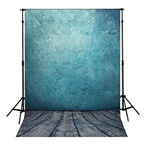 LYZ 3x5ft Photography Backdrop Ocean Blue Wall Wood Backdrop For Baby Children Newborn Or Studio Photography Background