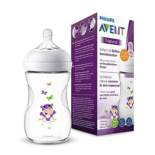 Philips Avent Natural Flasche SCF070/22, 260 ml, naturnahes Trinkverhalten, Anti-Kolik-System, Hippo, 1er Pack